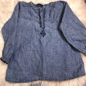 Hanna Andersson chambray top size 110 (5)